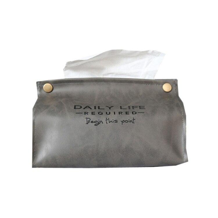Держатель из искусственной кожи для полотенец, салфеток, салфеток, контейнер, коробка для салфеток, диспенсер для бумаги, держатель для салфеток, чехол для офиса, украшения дома - Цвет: Gray