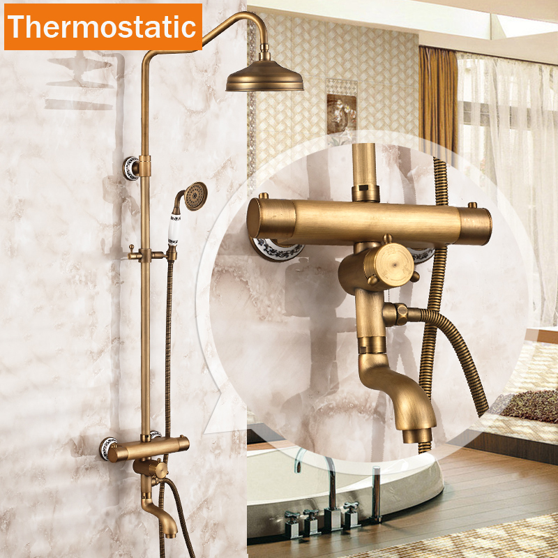 Brass Thermostatic Shower Faucet Mixing Valve Dual Handle: Brass Antique Dual Handle Thermostatic Shower Faucets Dual
