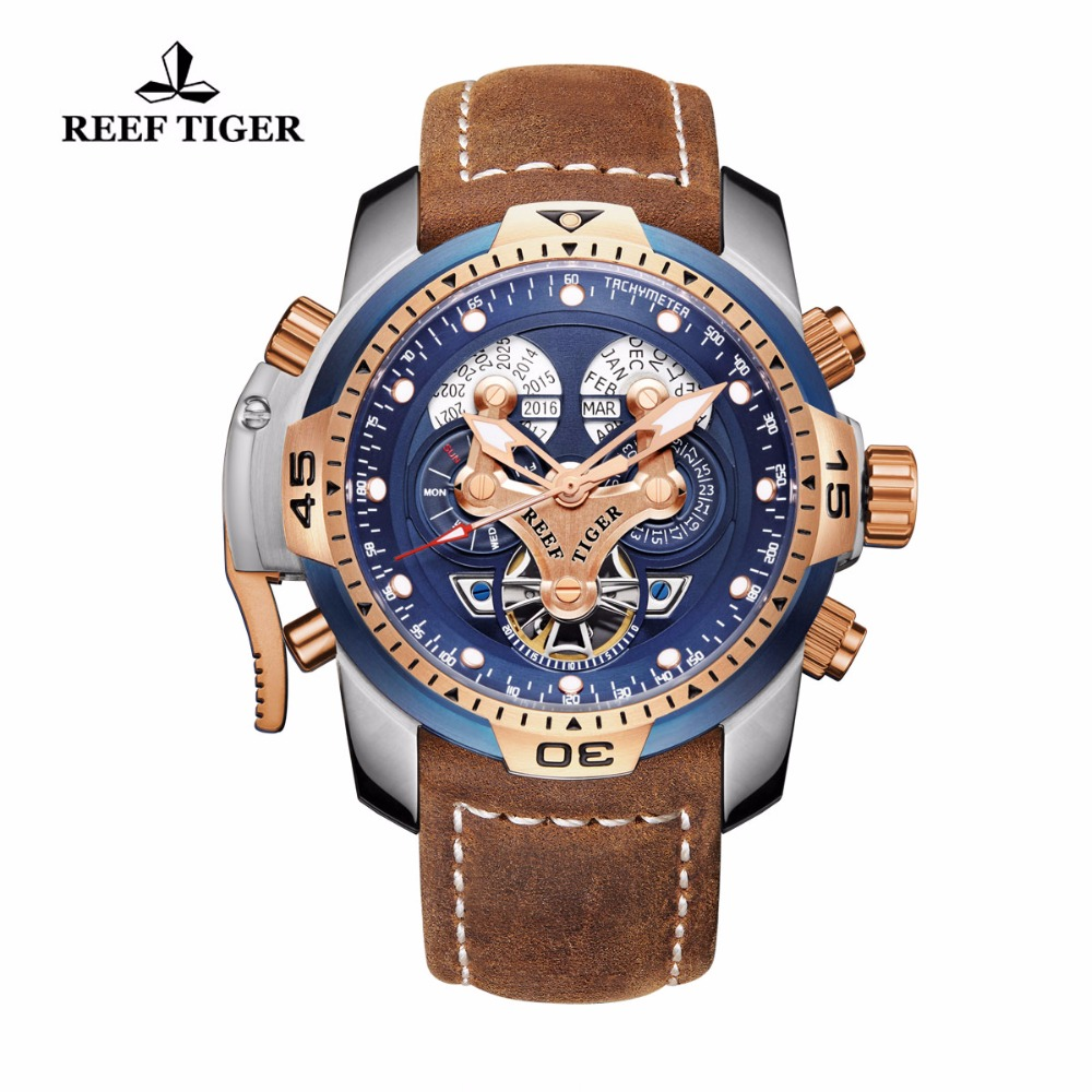 Reef Tiger/RT Military Watches Mens Rose Gold Steel Automatic Watches Brown Leather Strap Blue Dial Watches RGA3503