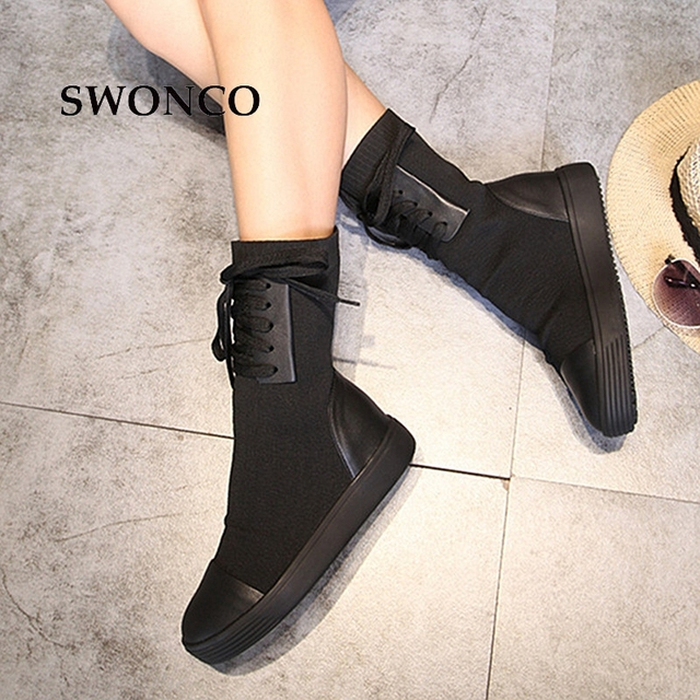 SWONCO Women's Boots 2018 Autumn Winter Genuine Leather Knitting Wool Ladies Shoes Women Boots Winter Mid Calf Boot Woman Shoes 3