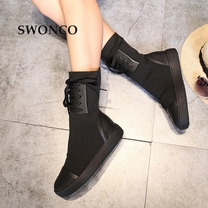 Image 4 - SWONCO 女性のブーツ 2018 秋冬本革ニットウール女性の靴女性ブーツ冬ミッドカーフブーツ女性靴