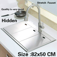 Free Shipping Standard Luxurious Kitchen Manual Sink Double Groove Hidden Durable Food Grade Stainless Steel Hot