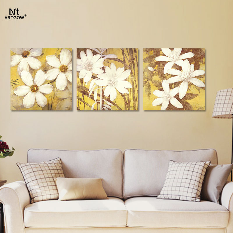 Modern Fashion White Flowers decoration yellow Canvas Painting ...
