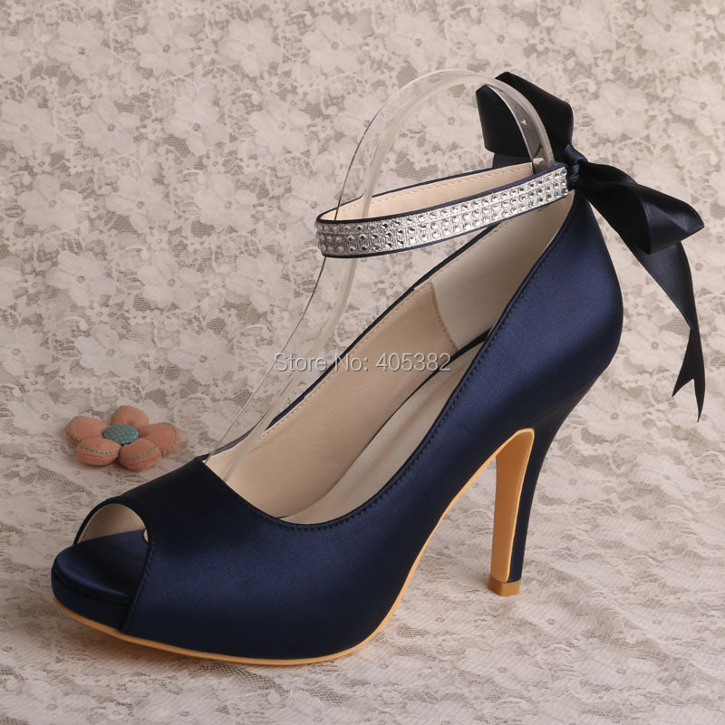Wedopus MW567 Navy Satin Platform Ribbon Strap Wedding Party Shoes High Heel  Peep Toe-in Women s Pumps from Shoes on Aliexpress.com  be8801a825