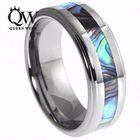 Queenwish 8mm Abalone Shell Inlay Mens Womens Tungsten Carbide Wedding Band Rings