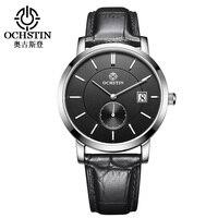OCHSTIN marka saatler Erkekler hakiki deri kuvars saatı erkek spor otomatik tarih kronometre Relogio Masculino Saat Erkekler