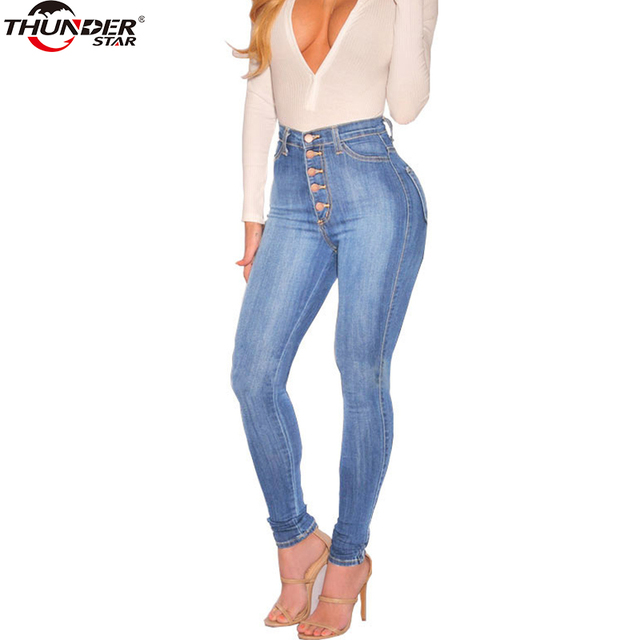 2018 Jeans Women High Waist Elastic Skinny Long Denim Pencil Pants Single  Breasted Woman Jeans Camisa Feminina Lady Fat Trousers 4aef9b13ed4a