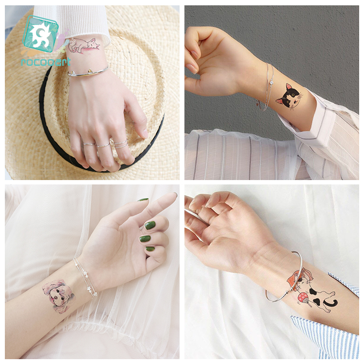 New Arrival 2018 Tattoo Cute Small Colorful Cat Flower Moon Dog