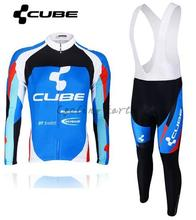 High Quality, CUBE 2015 #3 blue Winter long sleeve clothes cycling jersey bib pants Shirt bike bicycle thermal fleeced wear set