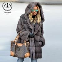 2018 New Real Mink Fur Coat With Hood Women Real Mink Fur Outwear Jacket Women Fur Genuine Long Winter Coat Plus Size MKW 088