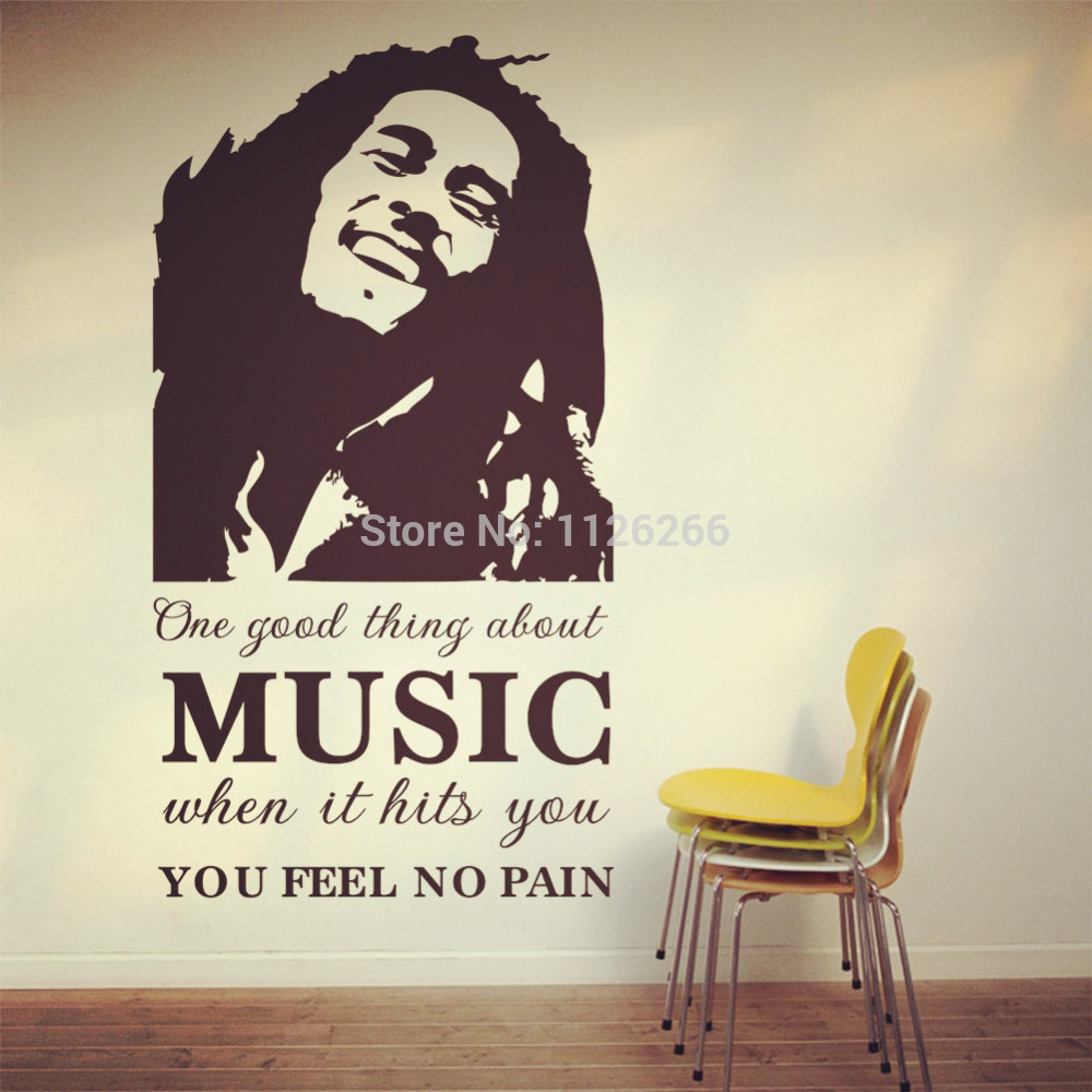 Captivating Famous Pop Stars Bob Marley Art Decal Wall Stickers Quotes One Good Thing  About Music When It Hits You Fell No Pain In Wall Stickers From Home U0026  Garden On ... Part 29