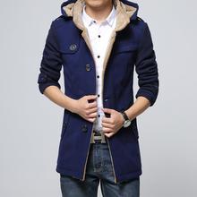 Hommes Hiver veste de laine longue tranchée manteau jaquetas masculinas hommes caban à capuche plus la taille mâle nouveau 2017 Livraison gratuite