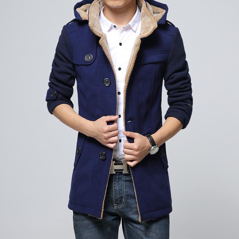 Mens Winter Jacket Woolen Long Trench Coat Jaquetas
