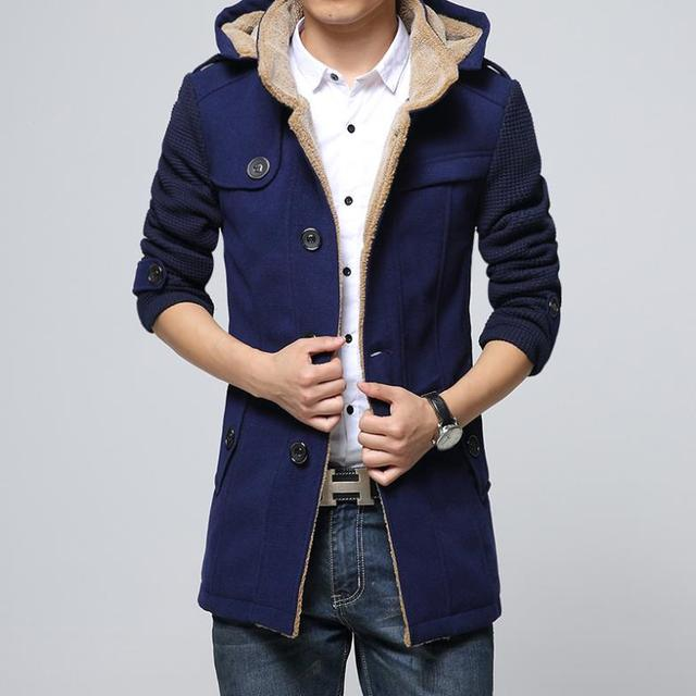 Mens Winter jacket woolen long trench coat jaquetas masculinas mens pea coat with hood plus size male new 2017 Free shipping