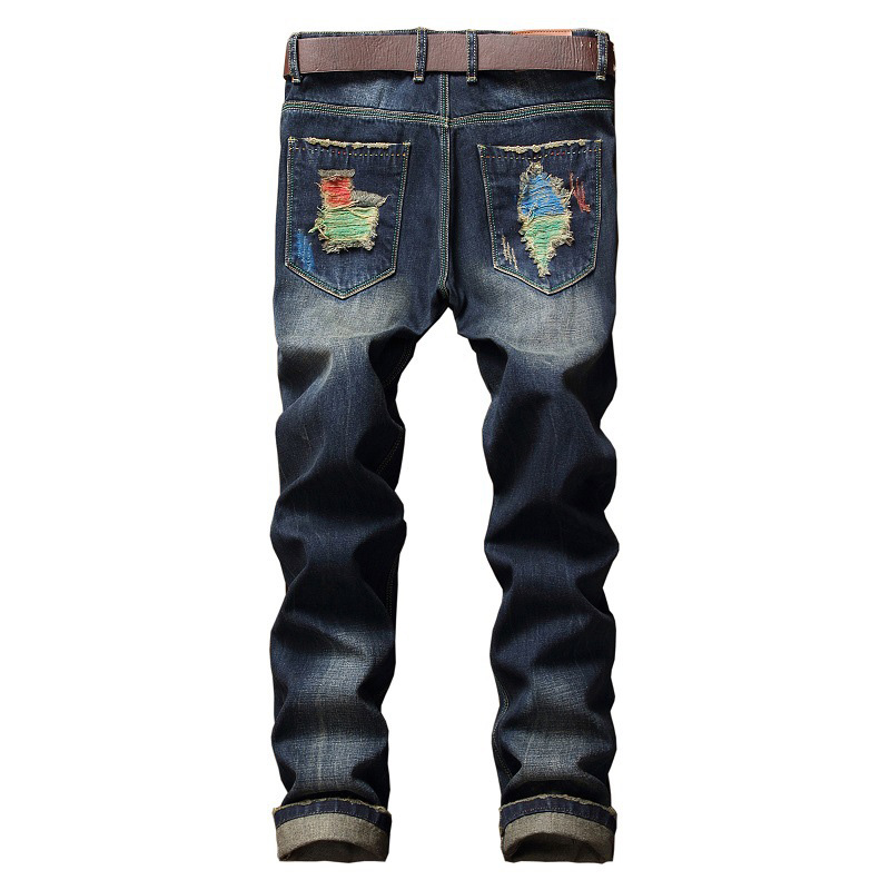 Aolamegs Men Jeans Pants Colors Hole Paint Solid Full Length High Street Crest Elastic Light Self Cultivation Denim Straight Mid
