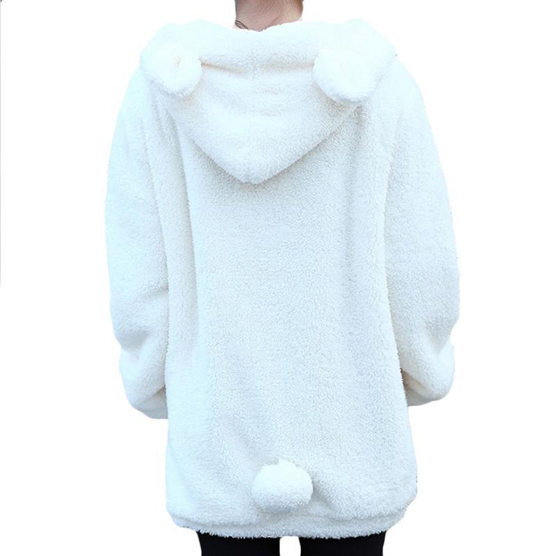 Women's Clothing Hot Sale Women Hoodies Zipper Girl Winter Loose Fluffy Bear Ear Hoodie Hooded Jacket Warm Outerwear Coat Cute Sweatshirt Hoody