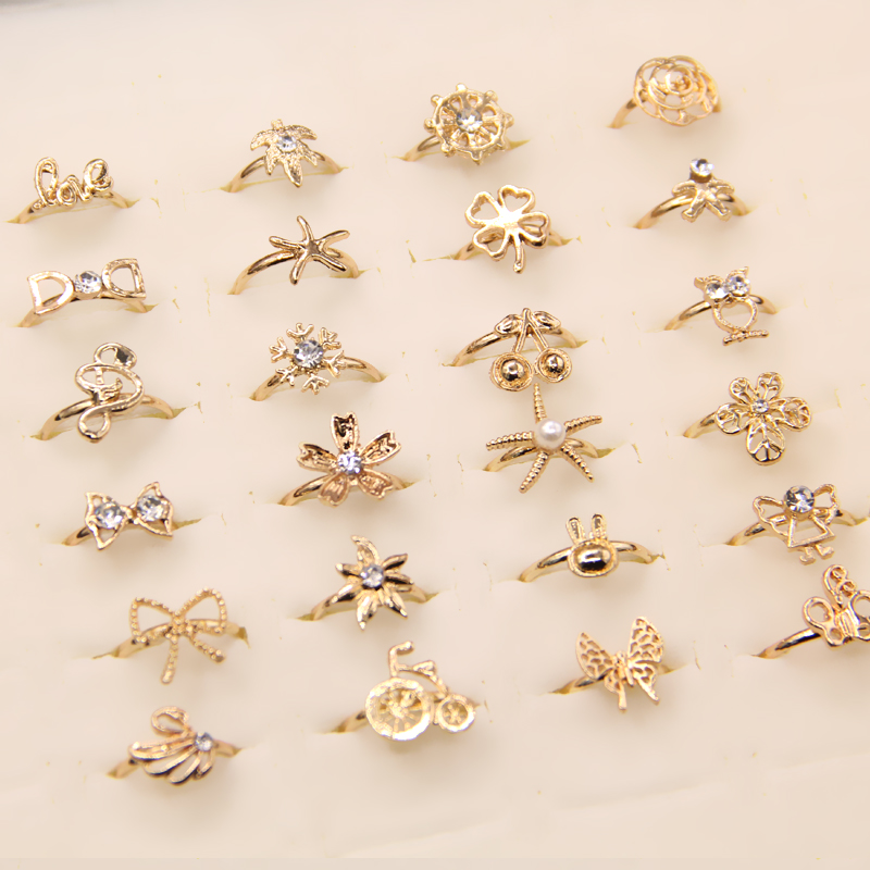 50pcs Gold Tone Orted Design Crystal Ring Cute Kid Child Party Small Size Adjule Jewelry Whole Lot Gift In Rings From Accessories On