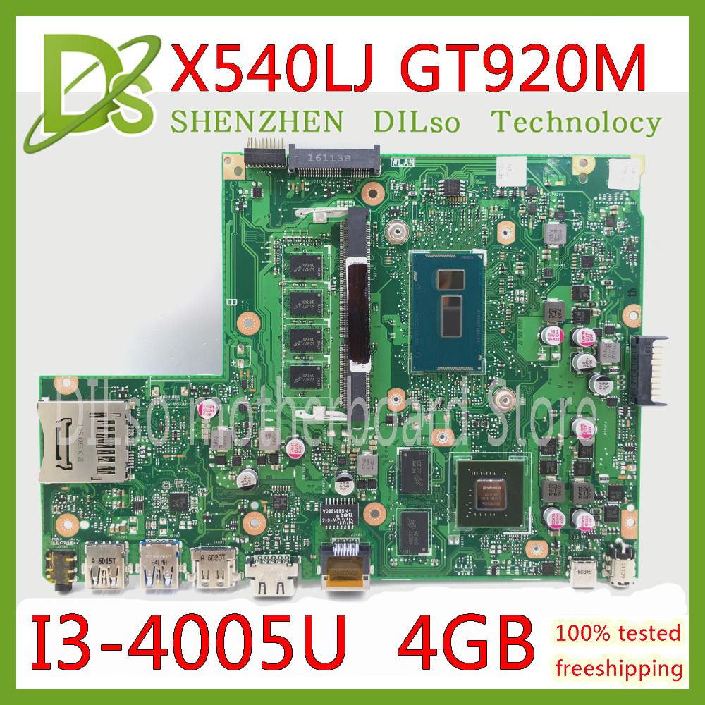 KEFU X540LJ For ASUS X540L F540L X540LJ X540L Laptop motherboard 4G RAM I3 4005U GT920M REV2.1 Test before shipping work 100%|Motherboards| |  - title=