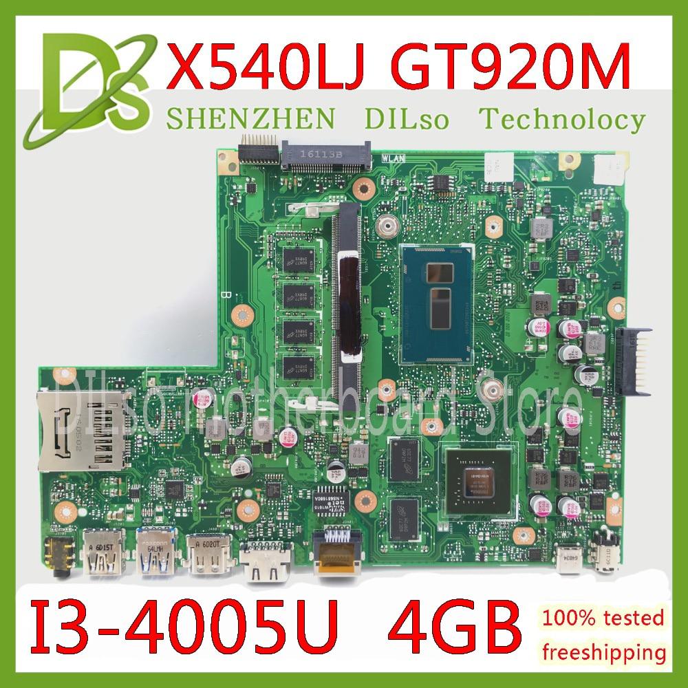 KEFU X540LJ For ASUS X540L F540L X540LJ X540L Laptop Motherboard 4G-RAM I3-4005U GT920M REV2.1 Test Before Shipping Work 100%
