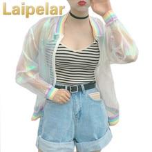 Laipelar Summer Women Jacket Laser Rainbow Symphony Hologram Women BasicCoat Clear Iridescent Transparent Bomber Jacket Sunproof