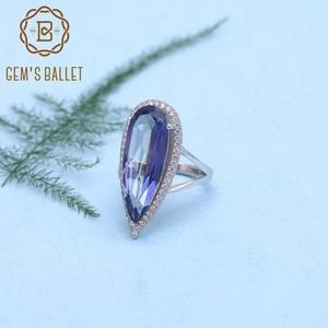 Image 2 - GEMS bale yeni 11.48Ct doğal Iolite mavi mistik kuvars büyük su damlası parmak yüzük 925 ayar gümüş yüzük kadınlar için düğün