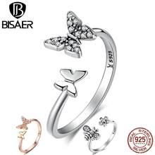 BISAER – bague de fiançailles en argent Sterling 925 pour femmes, bijou ouvert en forme d'insecte, papillon et abeille, bijoux à la mode, ecl086