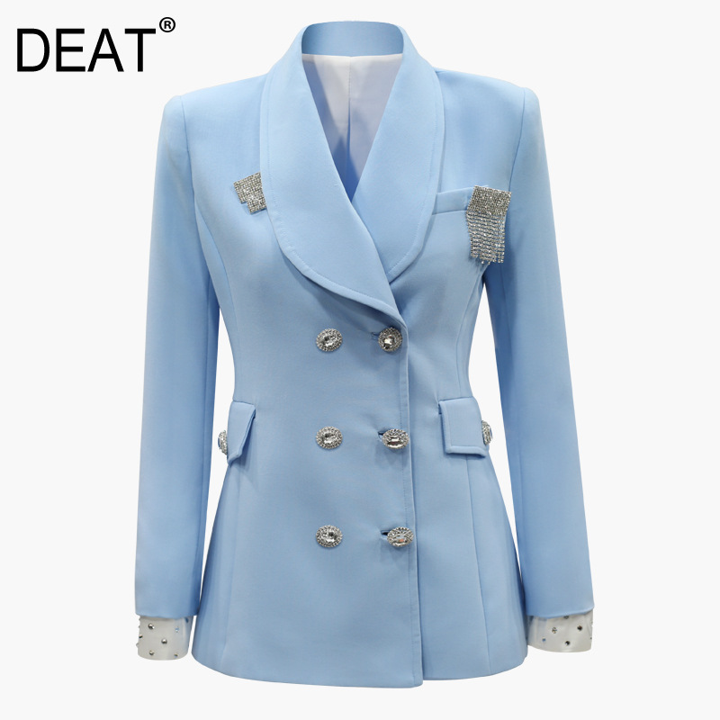 DEAT 2019 New Autumn Winter Fashion Women Clothes Europe Double Buttons Waist Shoulder Female Balazar Three