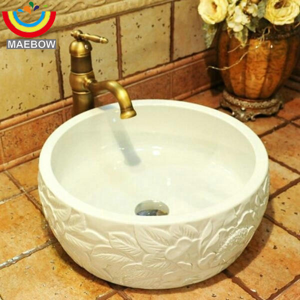 Final 4 Pieces China Artistic Porcelain Handmade Embossed Ceramic Lavabo  Bathroom Vessel Sinks In Bathroom Sinks From Home Improvement On  Aliexpress.com ...