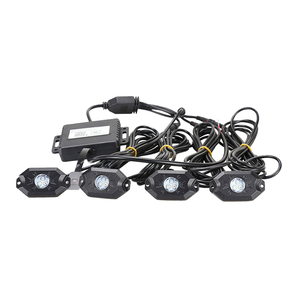 1pcs RGB LED Rock Light Kit 4 pods Waterproof luetooth Control Rock Light for Vehicle Boat JEEP SUV Off Road Truck rgb led rock light kits bluetooth remote control lights for off road truck car atv suv vehicle boat with timing