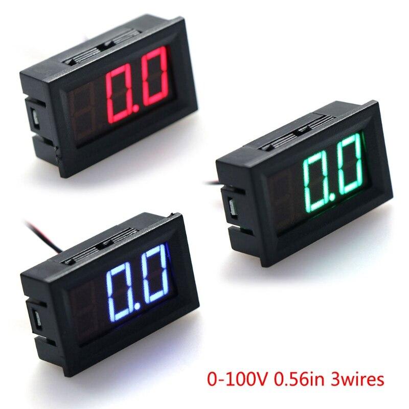 DC Voltmeter LED Panel Ammeter Universal Mini DC 0-100V 3-Wire Voltage Current Meter Tester LED Display Digital Panel Meter