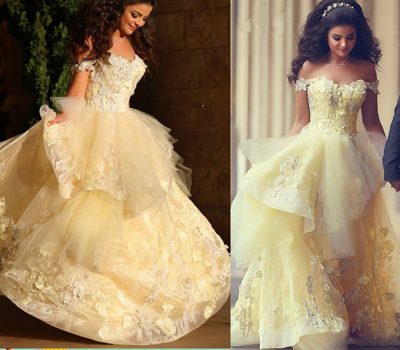 Yellow Off The Shoulder Quinceanera Dresses Tulle Floral Appliques Ball Gown Prom Elegant Floor Length 2019 Vestidos De 15 Anos