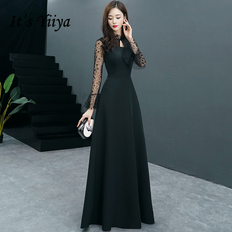 It's YiiYa   Evening     Dress   Simple Black O-neck Long Sleeve Formal   Dresses   Dot Pattern Floor length Party Gown E062