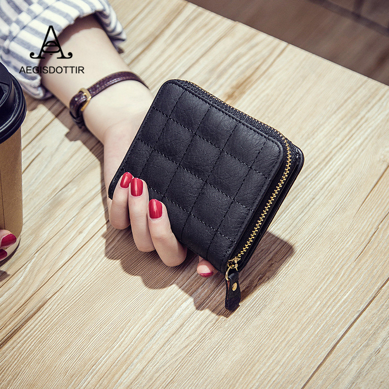 Fashion Square Lattice Pattern Solid Women Wallets Short PU Leather Wallet Female Zipper Clutch Coin Purse Ladies Purse Carteras simline fashion genuine leather real cowhide women lady short slim wallet wallets purse card holder zipper coin pocket ladies
