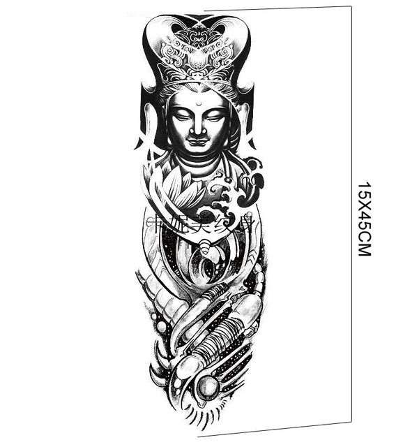 45x15cm New Waterproof Temporary Whole Hand Cool Tattoo Sticker With