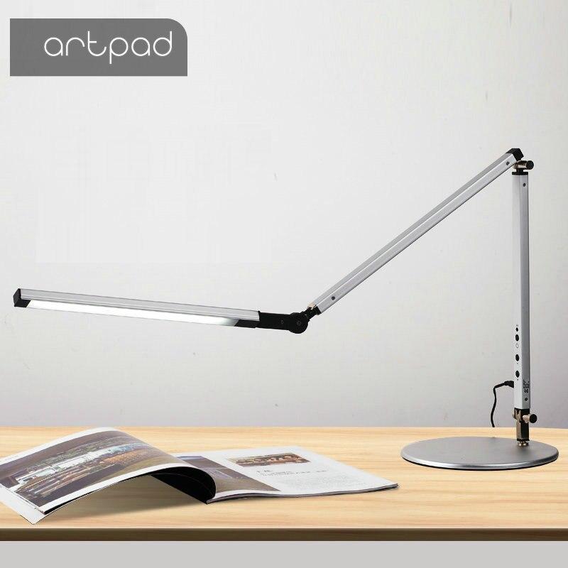 Ahorro de energía moderna LED lámpara de escritorio con abrazadera Dimmer Swing brazo largo Oficina estudio, escritorio luz Mesa luminaria