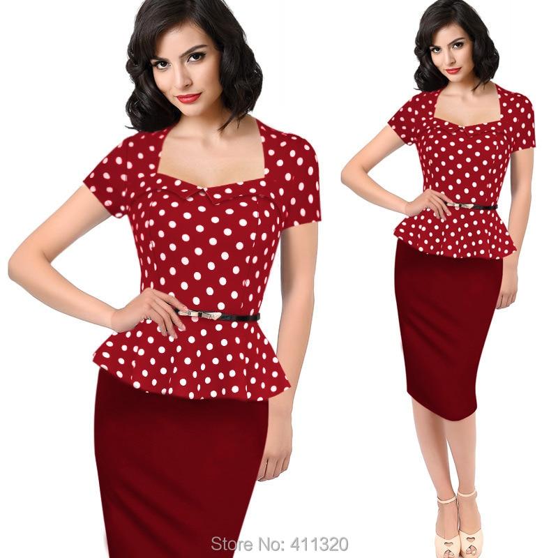 Womens Elegant Vintage Empire Formal Office Dress Polka Dots Patchwork Knee Length Pencil Bodycon Party Dresses Plus Size (4)