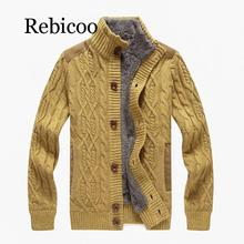 Rebicoo 2019 new single-breasted fleece cardigan sweater casual mens warm thick collar