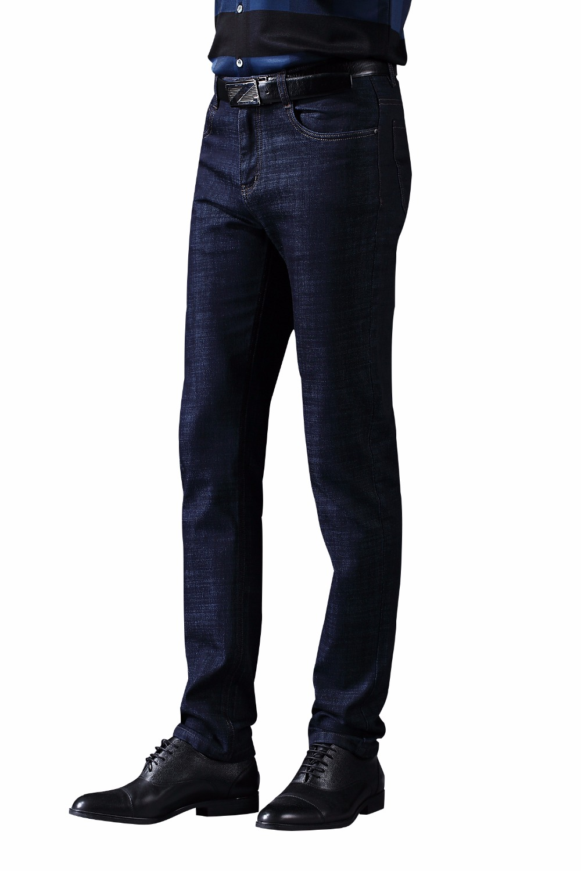 цена на 2017 LABEOUF male pants Dark blue Jeans men's Jeans Long casual straight Slim Masculina Cotton Denim Jeans for men