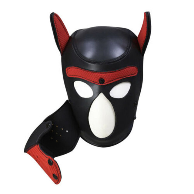 Brand New Latex Role Play Dog Mask Cosplay Full Head Mask with Ears Padded Rubber Puppy Cosplay Party Mask 10 Colors Mujer 4
