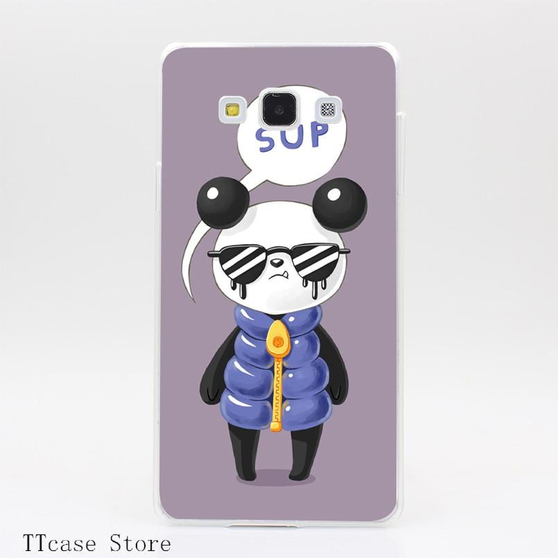 3406CA Sup Panda Transparent Hard Cover Case for Galaxy A3 A5 A7 A8 Note 2 3 4 5 J5 J7 Grand 2 & Prime