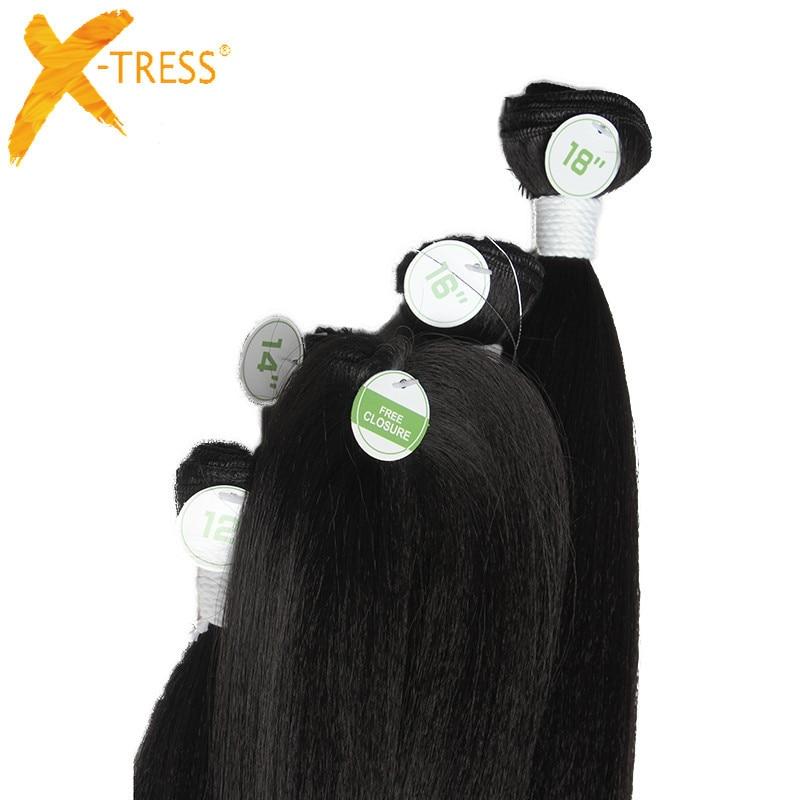 X-TRESS Syntetisk Yaki Straight Hair Bundles 6Pcs / Pack 12 14 16 - Syntetiskt hår - Foto 3