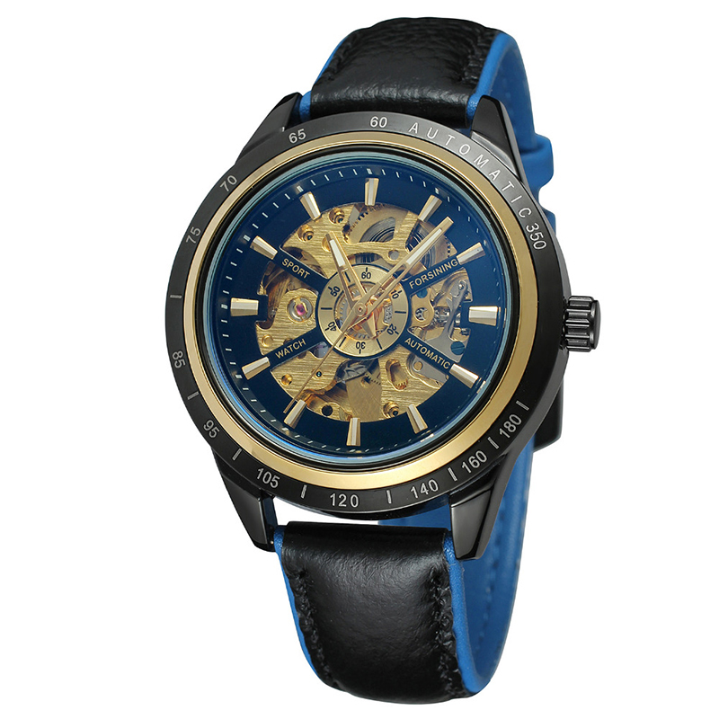 Luxury Men's Watches Mechanical Self Wind Fashion Skeleton Dial Genuine Leather Business Men Automatic Watch Forsining A1 Reloj