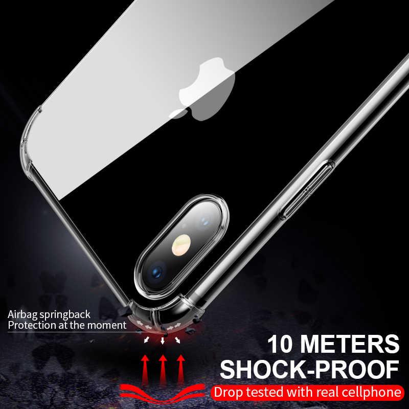 Für iPhone 5 5 s 6 6 s Plus 7 8 Plus X Stoßfest Fällen Weiche TPU Transparent Schutz Shell zurück Abdeckung Anti-knock Telefon Fall