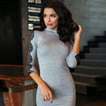 Hot New 2016 Fashion Women Spring Lace Dresses Turtleneck Print Solid Long Sleeve Femininas Dresses Casual Bodycon Grey Dresses