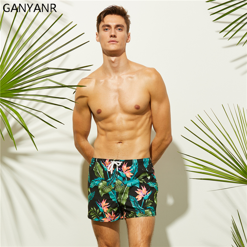 a36b08dedb GANYANR Mens Swimming Shorts Swimwear Swim Boardshorts Beach Bermuda Surf  Wear Boxer quick dry Swimsuits Bathing Suits Sexy Male-in Surfing & Beach  Shorts ...