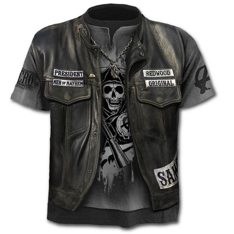 Movie Sons Of Anarchy Spring Summer  Casual Wear Short-sleeved T-shirt  Mens Womens Casual Cotton Tops Cosplay Costume