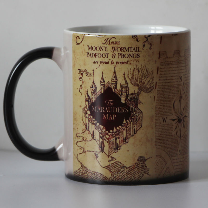 Drop shipping Marauders Map  morphing tea mug novelty heat changing color Coffee mug Cups New Design harry potter mug marauders map