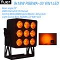 Новый светодиодный светильник для сцены 9x18 Вт  RGBWA-UV  6в1  светодиодный DMX512  DJ  дискотека  Par  светильник  цветной  музыкальный  вечерние  клубны...