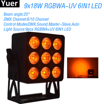 New LED Stage Par Light 9x18W RGBWA-UV 6IN1 LED DMX512 DJ Disco Par Light Color Music Party Club Bar Wedding Light Wash Effect tiptop wireless battery powered portable uplights 6 6w 6in1 led par light rgbwa uv slim par can with irc for wedding decoration