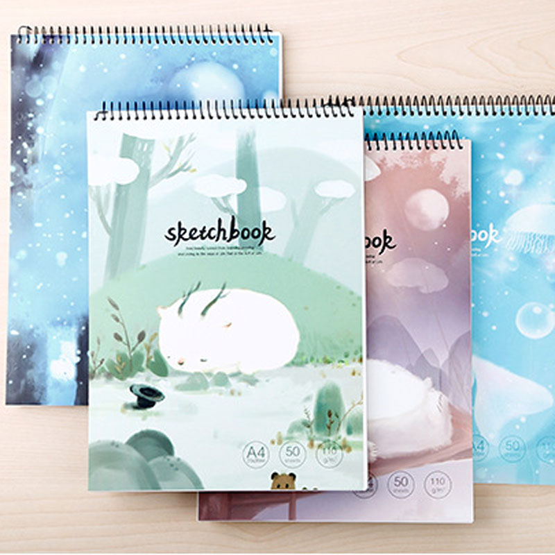 Dilosbu 1pc Spiral Notebook A4 Sketchbook Crayon School Supplies Paper Notebook Travel Notebooks For Students Gift Watercolor dilosbu 1pc kraft spiral notebook a4 sketchbook crayon school supplies paper notebook travel planner notebooks for students gift